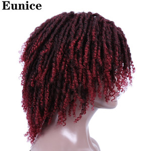 Image 5 - Short Synthetic Wigs For Women Eunice Hair 14 Soft Dreadlocks Hair Wig Ombre Black Bug Crochet Braids Wigs Heat Resistant Wigs