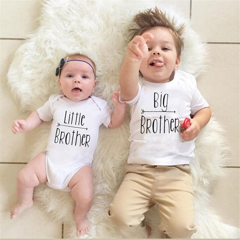 Sammlung Hier Big Brother Baby Jungen T-shirt Kleinen Bruder Strampler Body Passender Kleidung Neugeborenes Baby Boy Set Sommer Kleidung