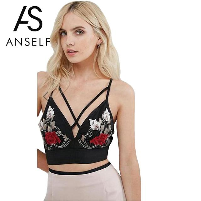 9e6ed8e5d4 Sexy Women Summer Bralette Crop Top V Neck Floral Embroidery Strappy Cami  Bra Vest Sleeveless Bustier