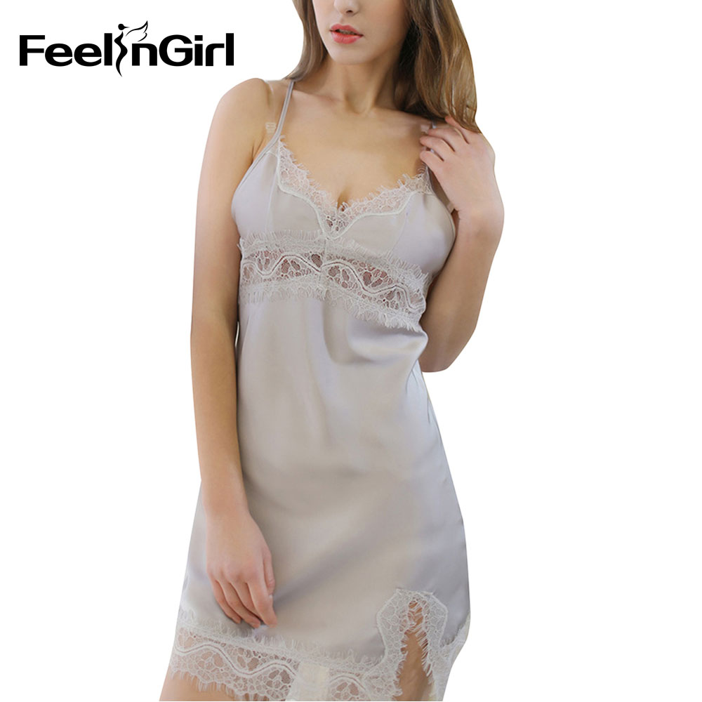 Feelingirl Plus Size Silk Lace Women Sleepwear Ladies Sexy Lingerie Sleepdress V Neck Nightdress   Nightgown     Sleepshirts   Homewear