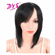 Deyngs 16 inch Черный Цвет Синтетические Парики С Челкой Для Черных и Белых Женщин Средней Длины Прямые Волосы Естественно жаропрочных