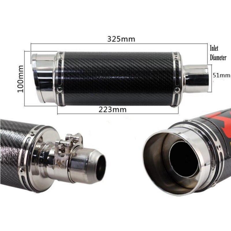 Tubo de escape de fibra de carbono para motocicleta z750 z1000 z800 cbr600rr cb400 cbr1000, silenciador de escape benelli