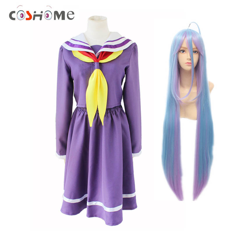 Coshome No Game No Life Shiro 100cm Wigs Cosplay Dress Costumes School Girls Sailor Uniforms Women Tops Bow Tie With Socks