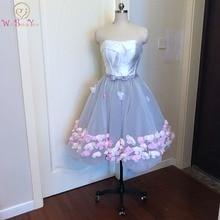 Прогулянка біля вас Випускні сукні Рожевий квітковий без бретельки Довжина коліна Сірий білий Vestidos Cortos De Graduacion плаття повернення додому