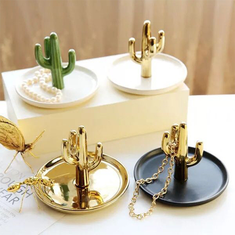 Nordic Cactus Jewelry Display Storage Trays Stand Dish Holder Cactus  Trinket Plant Dish Ring Storage INS Hot Cactus Decoration