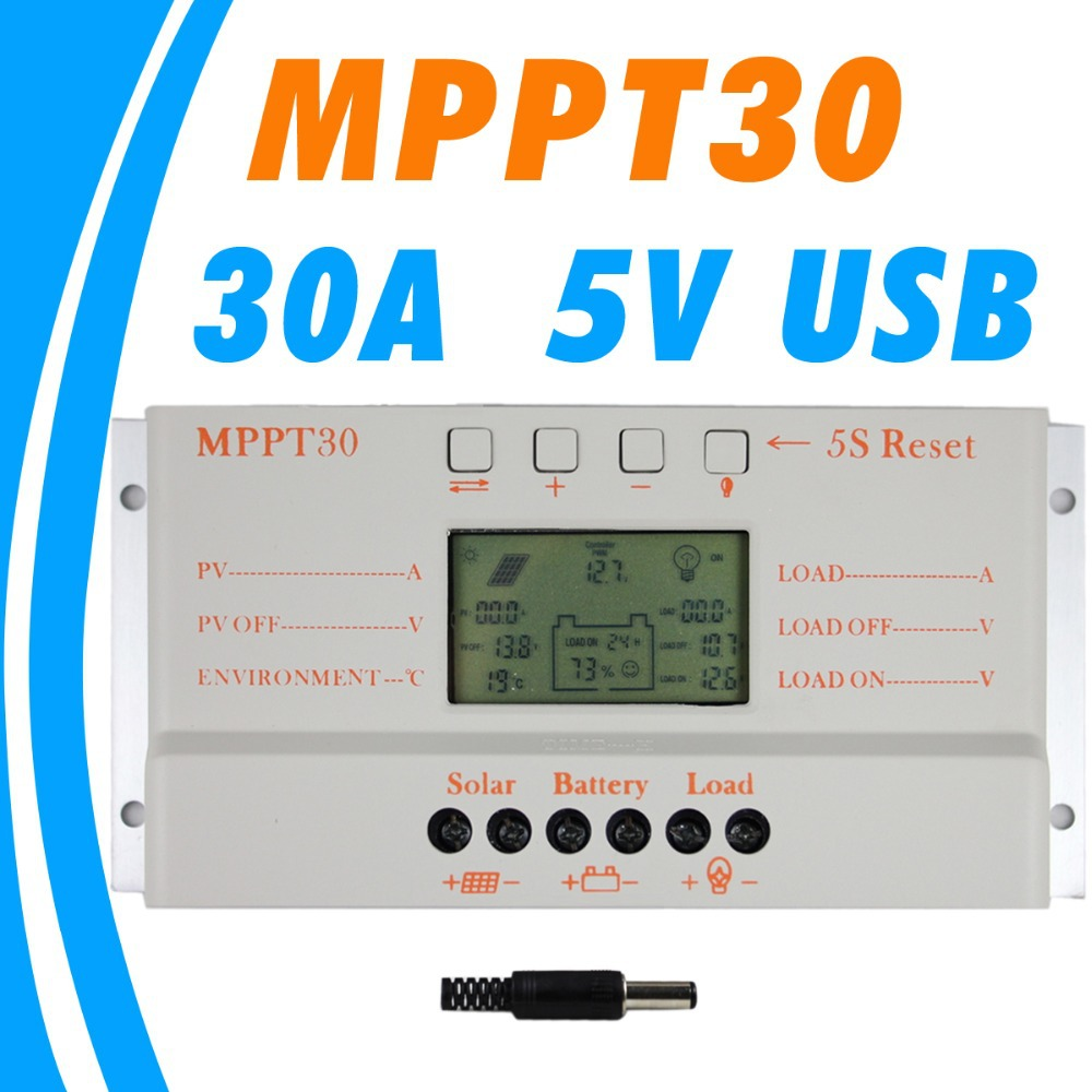 MPPT 30A solar charge controller 5V USB Charger 12V 24V Solar Panel Battery LCD Charger Controller auto work mppt 30 30Amps 4pcs 100w flexible solar panel with mppt 30a controller and mc4 y connectors for 12v battery solar charger houseuse solar kit