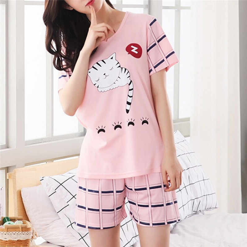 Pajamas For Women Summer Short Sleeve O Neck Printed Tops And Shorts Sets Sleep Wear For Women