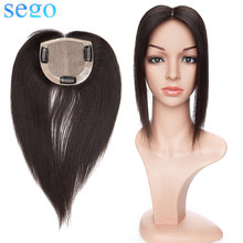 "SEGO 10""-14"" Straight Indian Hair Topper Silk Base W/Clips Hair Pieces Non-Remy Women Natural Black #1B Color Human Hair US(China)"