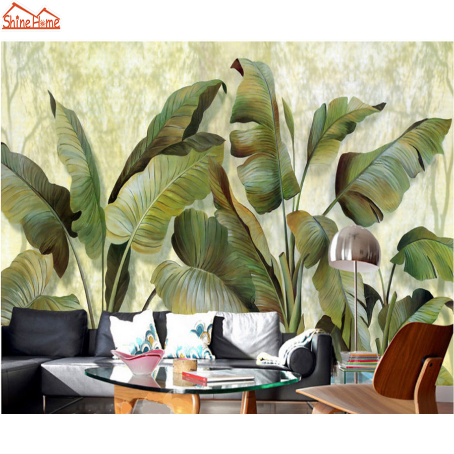 ShineHome-Banana Leaf Wallpaper Background 3d Nature Photo Wallpaper Rolls for Walls 3 d Livingroom Wallpapers Mural Roll Paper shinehome modern banana leaf strip abstract background wallpapers rolls 3 d wallpaper for livingroom walls 3d kids room paper