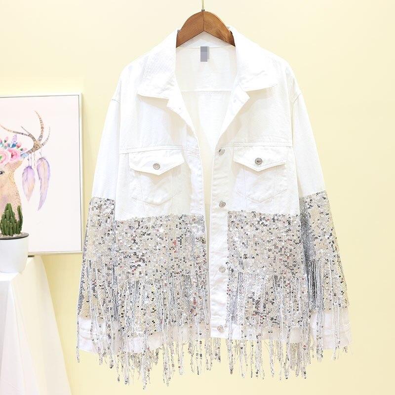 2019 New Sequin Tassel Oversized Denim   Jacket   Turn-Down Collar Women Single-Breasted Loose Coat White Outerwear   Basic     Jacket