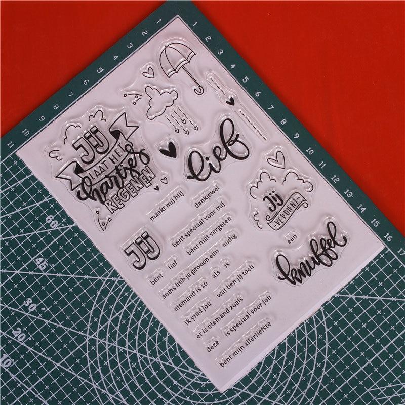 Ord Transparent Clear Silicone Stamp Cutting Dies Set för DIY - Konst, hantverk och sömnad - Foto 2