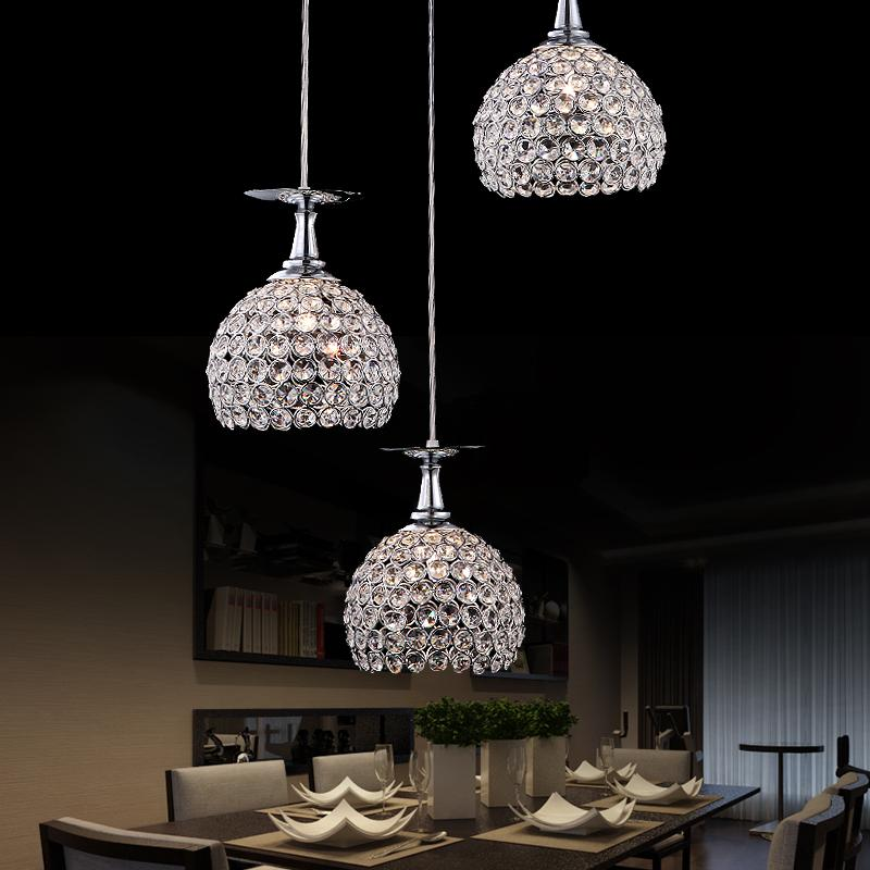 Contemporary and contracted three creative crystal droplight of led lamps and lanterns of droplight restaurant bar a1 modern simple led crystal chandelier three head hanging lamps and lanterns lamps and lanterns artistic originality individual