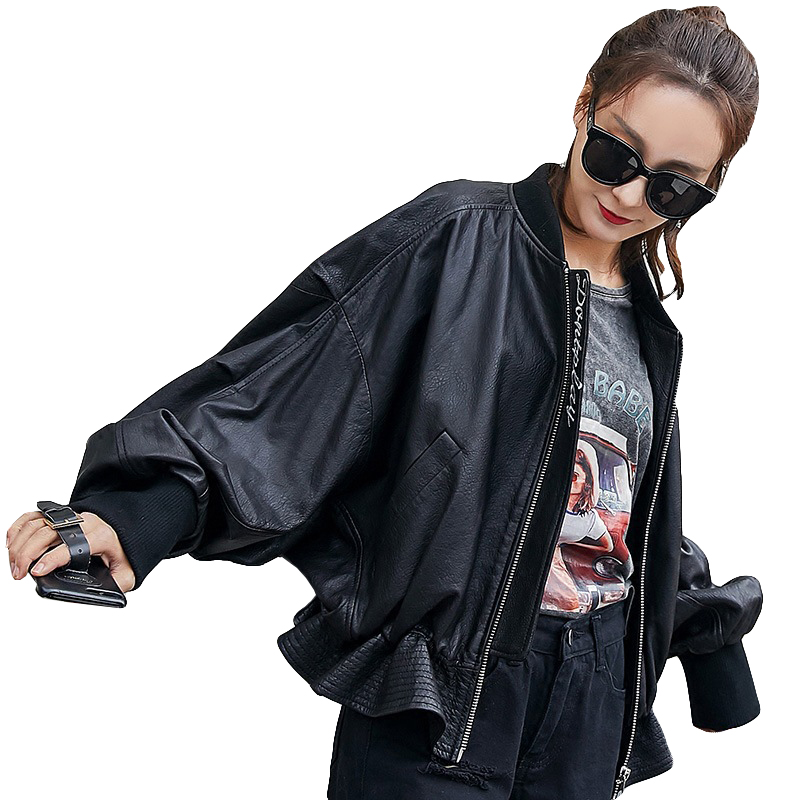 Top Quality Genuine   Leather   Jacket Women Bat Sleeve Soft Sheepskin Jackets For Women Streetwear Women Motorcycle   Leather   Jackets