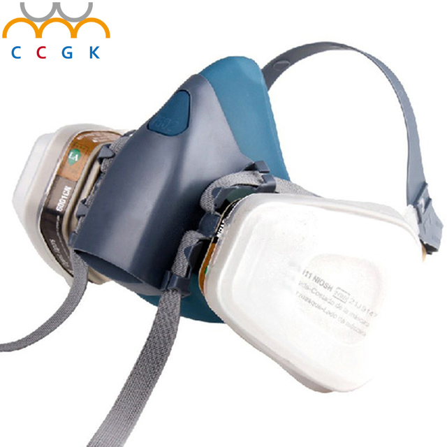 Nuevo Traje a prueba de Polvo Respirador máscaras de Gas 7 Unidades Pulverización spray Anti-niebla y bruma Anti-Gas respirador máscaras De Silicona Avanzada