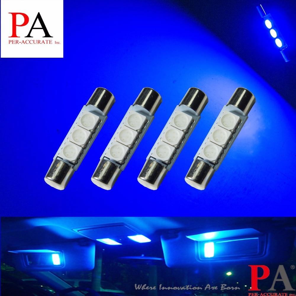 PA LED 10db x Festoon kék színű 3 SMD 5050 Napellenző - Autó világítás