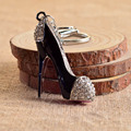 High Heel Shoes Keychains Rhinestone Car Key Rings Silver Plated Women Bag Charms Key Chains Keyrings Fashion Crystal Key Holder