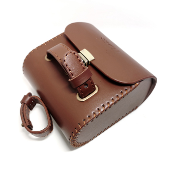 Q1071 Bicycle bags vintage tail bag leather mountain road death coaster tail bag bike leather bag brown black leather