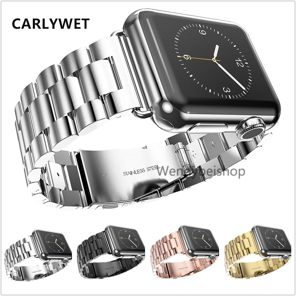 38mm 42mm New 316L Stianless Steel Connector Adapter Silver Black Rose Gold For Apple Watch Strap band iWatch Buckle Bracelet