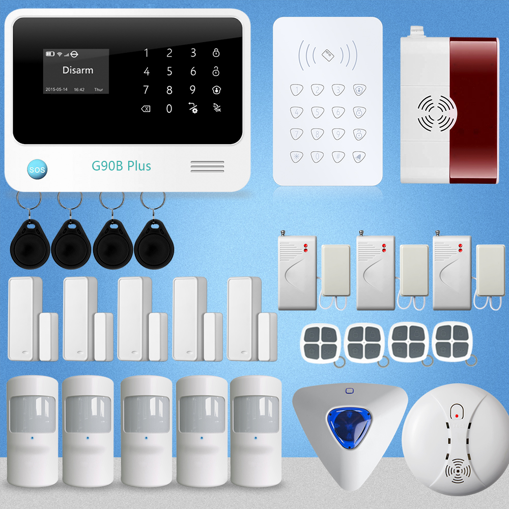 NEW Arrival G90B Plus WIFI GSM Alarm System Security Burglar Alarm Apps Control Door/Window Sensor Alarm Home Smoke D wireless smoke fire detector for wireless for touch keypad panel wifi gsm home security burglar voice alarm system