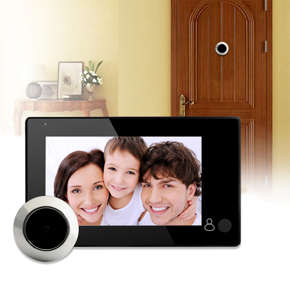 4.3 дюйма TFT ЖК-дисплей цифрового видео дверной глазок с 145 градусов одна кнопка с дверь глаз Беспроводной Дверные звонки видео камера