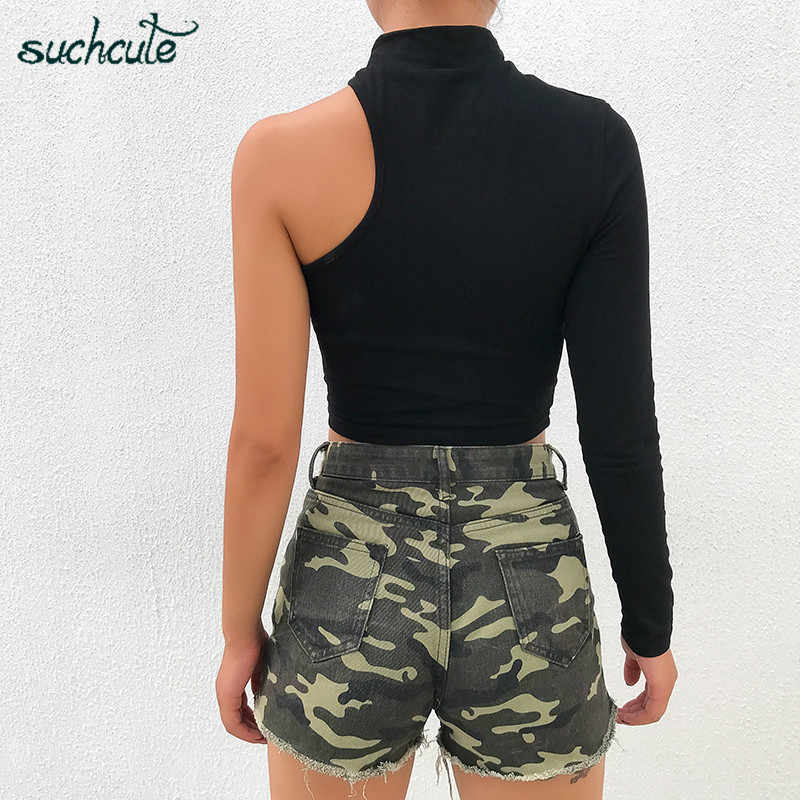 SUCHCUTE Reflective Female T-Shirts One Shoulder Longslive Modis Femme Harajuku Clothes Korean Style Gothic Tops Female Festival