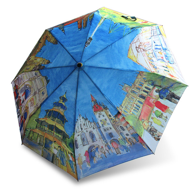 Hand Made Umbrellas European Countries Oil Painting Umbrella Three Folding Woman Anti Uv Sun Rain Automatic Gift