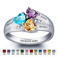 Anillo de piedra de nacimiento personalizado 925 piedras de corazón de plata de ley grabar nombre joyería regalo de compromiso anillos de madre (RI101793)