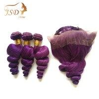 JSDShine бразильские пучки волос плетение с 360 закрытием фиолетовые свободные волнистые человеческие волосы 3 пучка с 360 закрытием не Реми