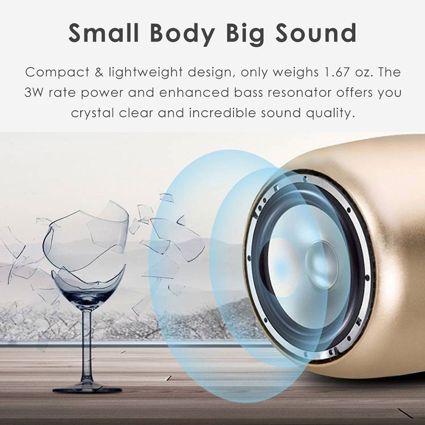 Aimitek Mini Wireless Speaker Small Pocket Size gold-11