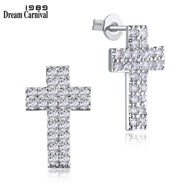 db889aa90c67 DreamCarnival 1989 Cross Stud Earrings for Women Christian CZ Crystals  Pretty X mas Gift Jewelry