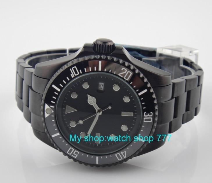 43mm big PARNIS Black ceramic Bezel Automatic Self-Wind movement Men Watches luminous Mechanical watches PVD case 29SY цена и фото