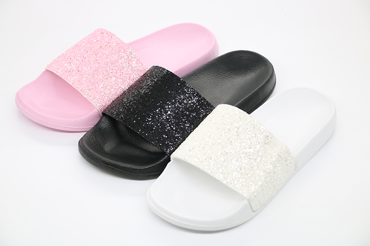 61a5399dd4f4e ... PU Bling Bling Slides Flat Soft Bottom Sandals Home Flip Flops Female  Tap Casual Beach Shoes. women size slipper 80-18 ...