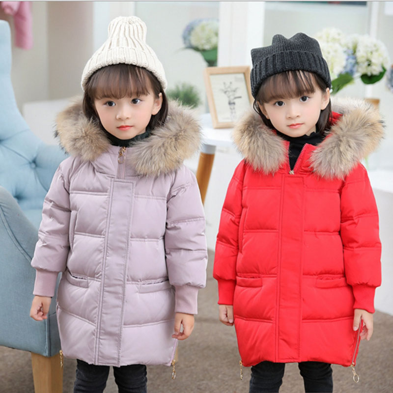 Winter Down Jacket For Girls Kids Clothes Children Warm Coats Thicken Duck Down Jackets Girls Parka Snowsuits Hooded Fur Outwear 2016 christmas kids clothes jackets girls spring boys winter brands warm hooded coats parka white duck down children waterproof
