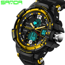 2017 New Male Fashion Sport Military Wristwatches SANDA Watch Men Luxury Brand 3ATM 30m Dive LED