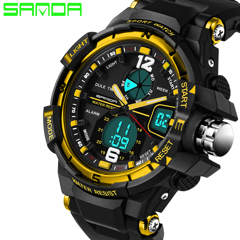 2019 Ny manlig mode sport militär armbandsur SANDA Watch Men Luxury Brand 3ATM 30m Dive LED Digital Analog Quartz Klockor