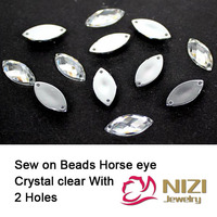Flatback Sewing Beads 5X10mm 7x15mm 6x12mm 9x20mm 12x25mm Horse Eye Crystal Clear Beads Sewing Buttons For