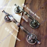 Hole Pitch 160mm 128mm Red Copper Antique Brass Hardware Door Handle Door Handles For Interior Doors