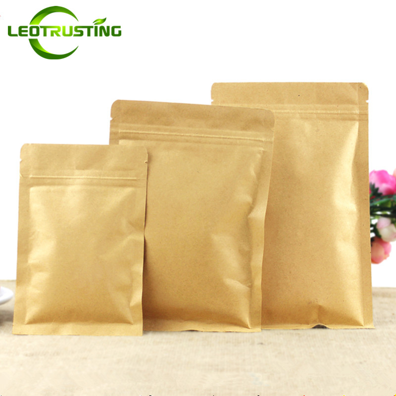 Leotrusting Flat Bottom Kraft Paper Ziplock Bag Small Gift Bags Paper Fidget Hand Spinners Packaging Bag