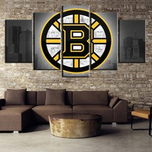 Hot Sell 5 Panel Canvas Art Ice Hockey City Logo Poster Paintings on Wall for Home Decorations Decor(Framed)