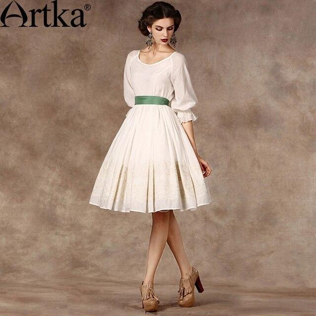 Artka Luxus frauen Silk Kleid Audrey Hepburn Elegante Kleid Frauen ...