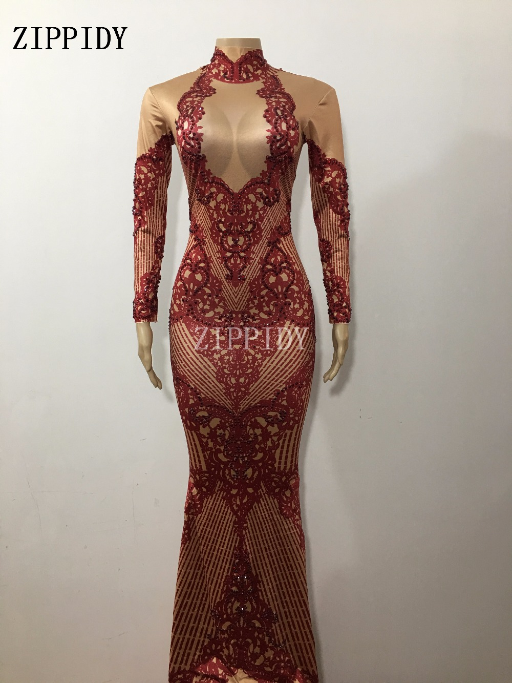 Fashion Sparkly Crystals Dress 3 Colors Evening Printed Costume Celebrate  Rhinestones Dress Birthday Long Tail Dresses-in Dresses from Women's Clothing    3