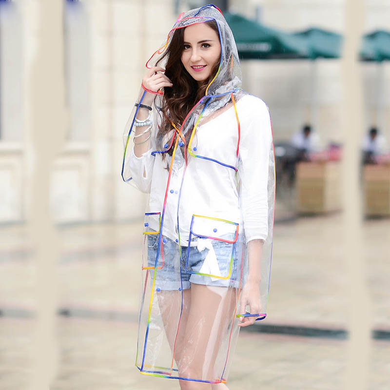 Yuding One Pieces Plastic Transparent Raincoat Clear Rainwear Hooded Outdoor Touring Woman Female Rain Coat With Pockets