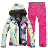 Новый GSOU снег Для женщин лыжный костюм один двойной борт волосы воротник Термальность Водонепроницаемый ветрозащитная лыжная куртка + ки б
