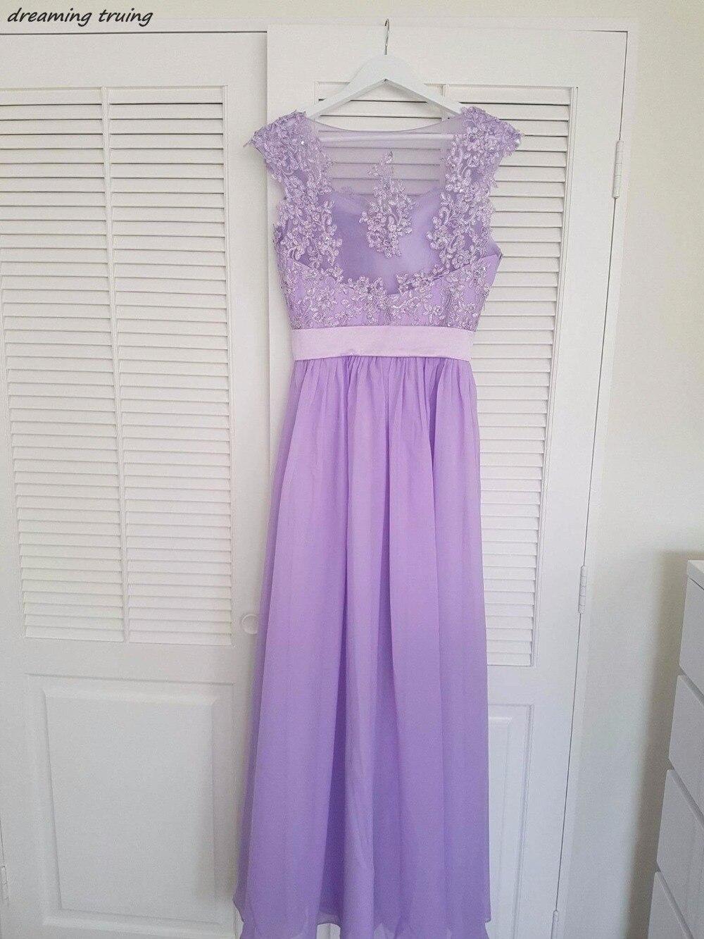 Robes de demoiselle d'honneur lavande bon marché Vestido de festa voir à travers le dos longues appliques plage violet clair robes de mariée - 2