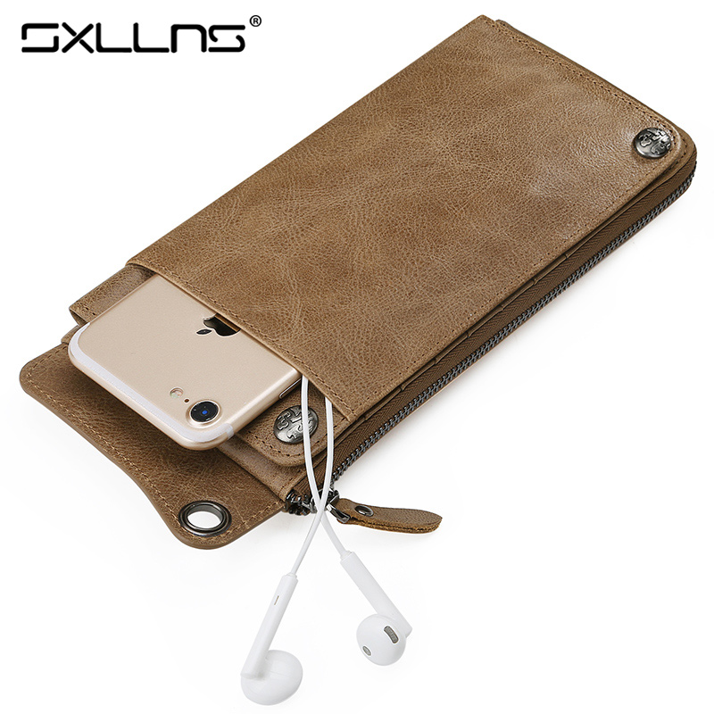 Sxllns Brand Men Wallet High Quality Genuine Leather Cowhide Vintage Wallet Fashion Phone Purse Women Wallet Free Shipping картридж cactus 520 cs pgi520bk black