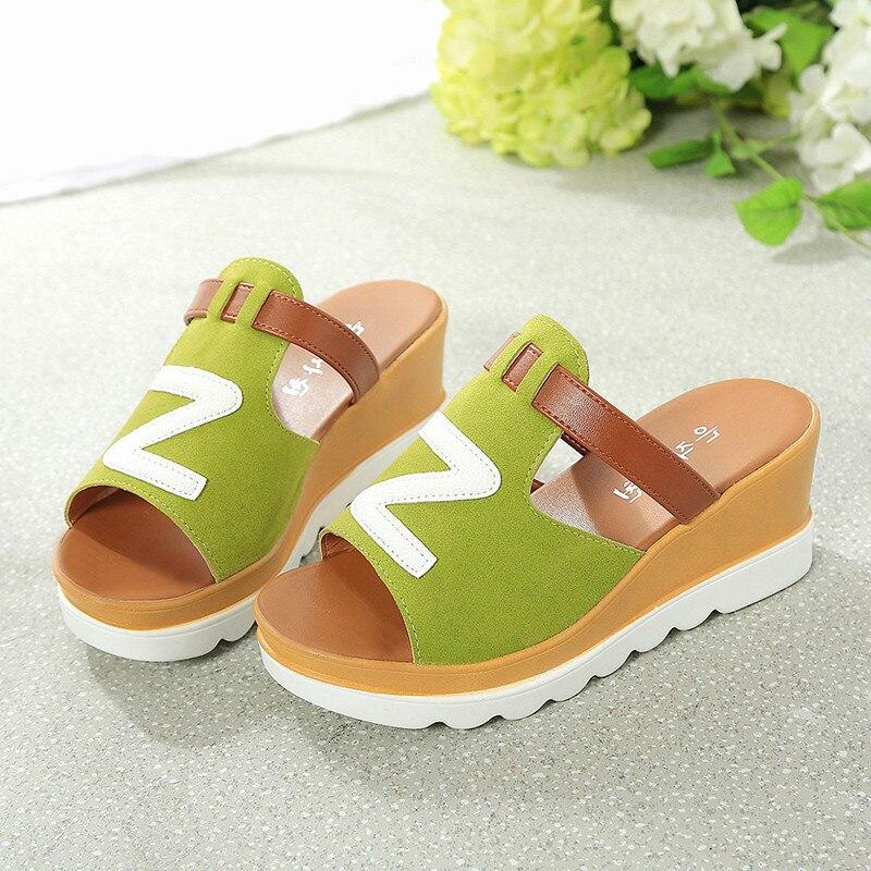 Sagace 2018 Nyári divat Tömör színű ékek Peep Toe síkformájú - Női cipő