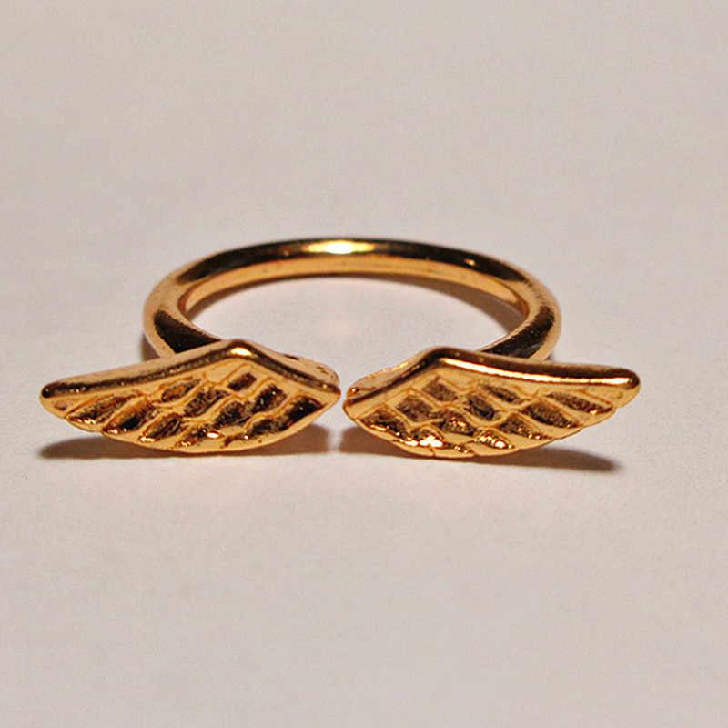 Atacado ajustável asas de anjo anel ouro prata cor anéis para presentes de jóias de moda feminina