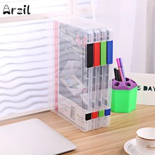 Plastic A4 Transparent File Storage Box Portable Folder Transparent Plastic File Sorting Folder 4 colors Office School Essential