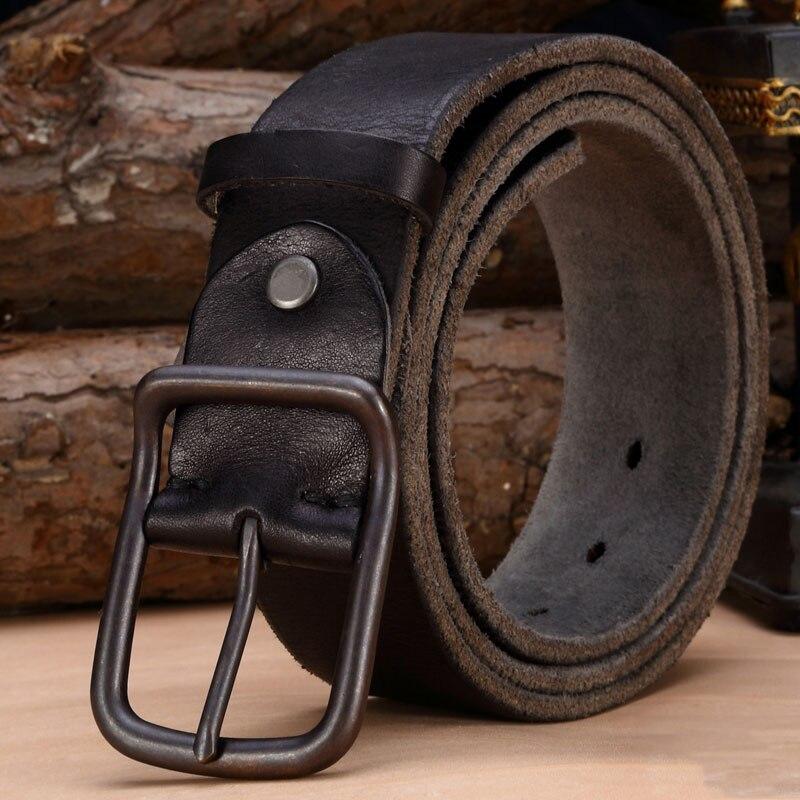 Lujo correa de cuero genuina de los hombres cinturones de cuero de la vendimia de los hombres correa de los pantalones vaqueros de color negro de ancho de flejado cinturón marrón tanga
