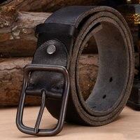 Luxury Genuine Leather Belt Men Vintage Leather Belts Men S Jeans Strap Black Color Wide Strapping